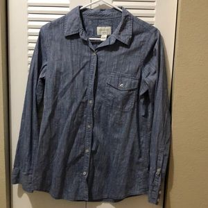 Blue jeans button up shirt